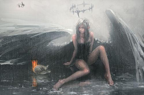 Обои Девушка-ангел защищает своим крылом от дождя спящую кошку, art by wlop