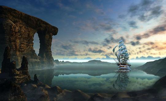 Обои Парусный фрегат, зашедший в скалистую морскую бухту на берегу которой стоят каменные фигурки древних людей, на одной из скал выбито человеческое лицо, автор Nataliorion