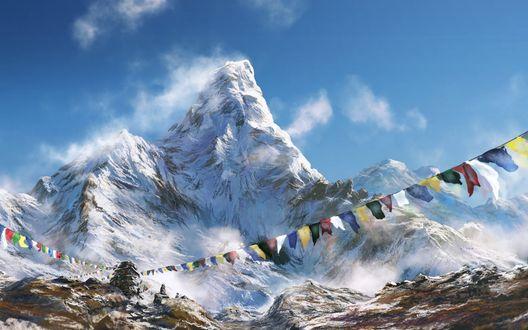 Обои Заснеженные вершины гор на фоне голубого неба