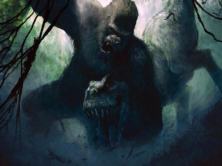 Обои Кинг-Конг сражается с тираннозавром в игре Peter Jacksons King Kong