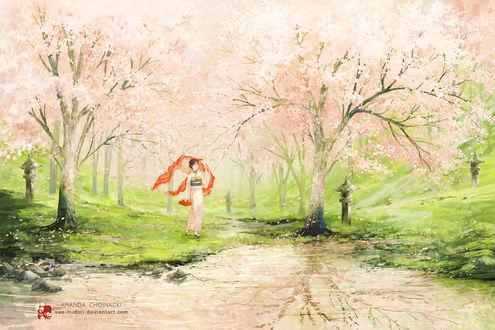 Обои Девушка в розовом кимоно смотрящая на воду в которой отражается сакура, автор sae-midori