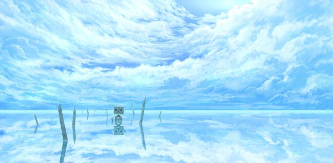Обои Робот стоит в воде на фоне облачного неба