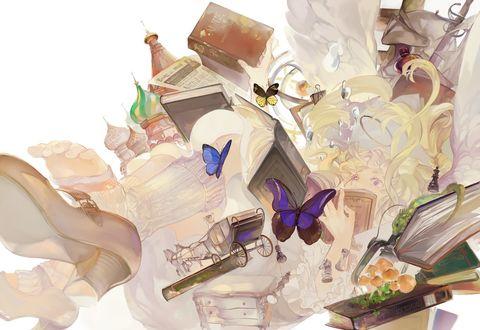 Обои Девушка - ангел падает вместе с книгами и различными предметами