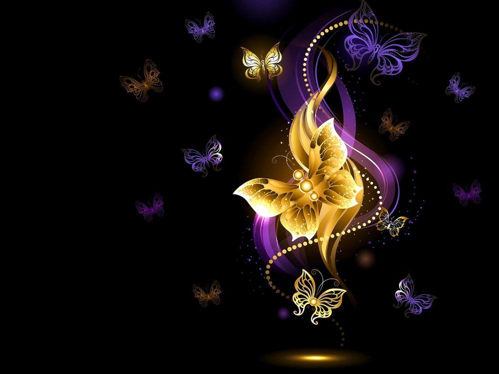 Золотые бабочки на черном фоне