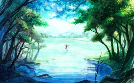 Обои Маленький ангел танцует в воде, художник Aka11tonbo