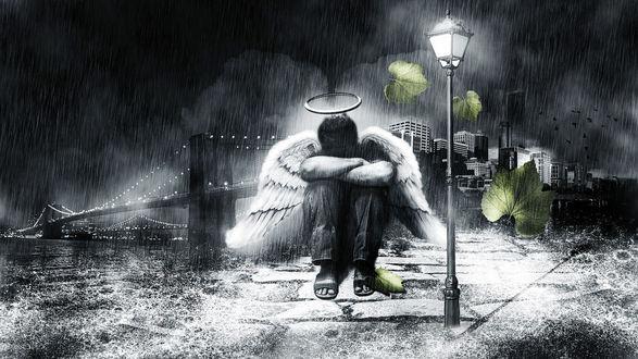 Обои Парень ангел плачет под фонарем