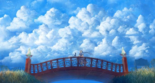 Обои Девушка стоит на мосту, рядом с ней сидит черная кошка, на фоне облачного неба, художник Sakimori