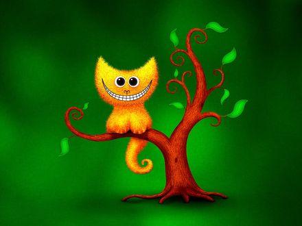 Обои Чеширский оранжевый кот сидит на ветке дерева на зеленом фоне
