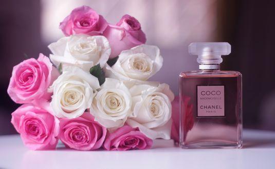Обои Букет из розовых и белых роз и флакон духов Chanel Coco Mademoiselle