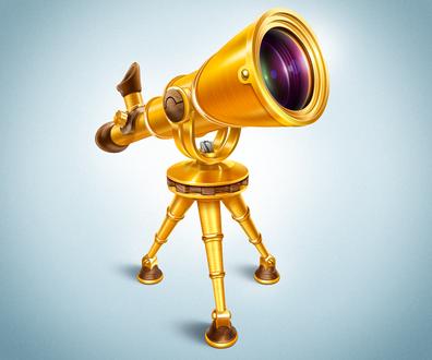 Обои Золотой телескоп с деревянными вставками, на треноге