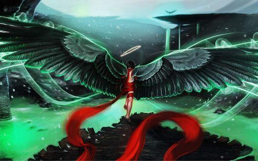 Обои Ангел с нимбом и красной лентой