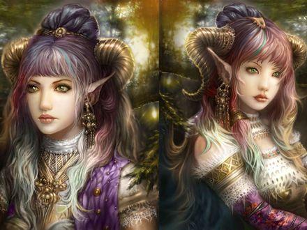 Обои Девушки эльфийки с рогами