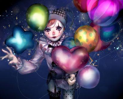 Обои Клоун с разноцветными шарами