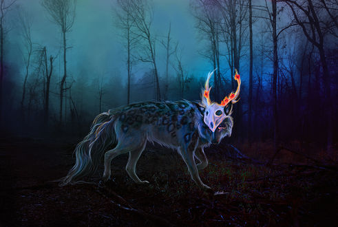 Обои Волк с рогатым черепом на морде