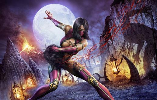 Обои Milena / Милена персонаж из игры Mortal Combat / Смертельная Битва, оторвала голову противнику на арене