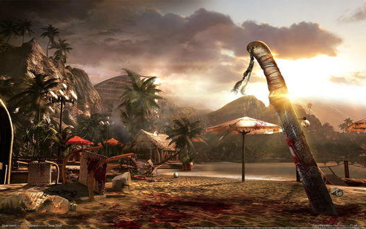 Обои Мачете с насечками торчит в песке на окровавленном пляже, из игры Dead Island