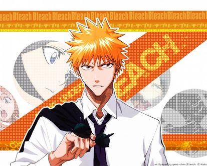 Обои Kurosaki Ichigo / Куросаки Ичиго из аниме Bleach / Блич в белой рубашке с черным галстуком держит темные очки в руке