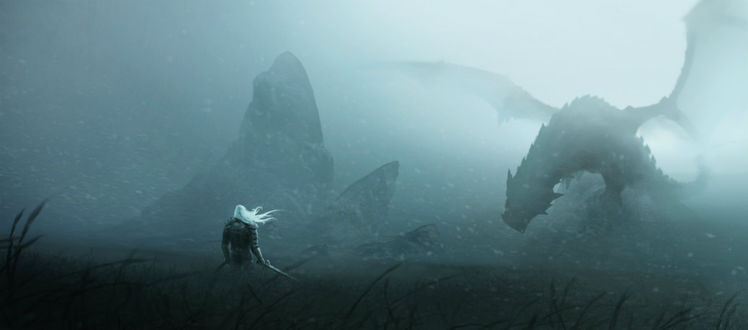Обои Воин вступает в схватку с драконом