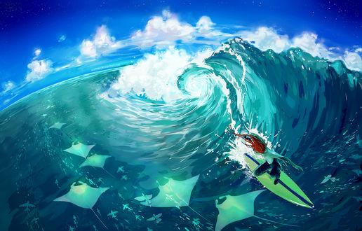 Обои Серфингист на воде, автор Yuumei