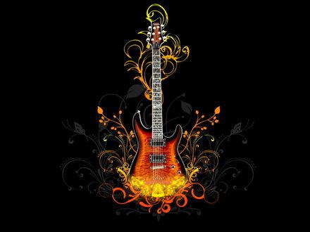 Обои Гитара в абстрактных узорах на черном фоне