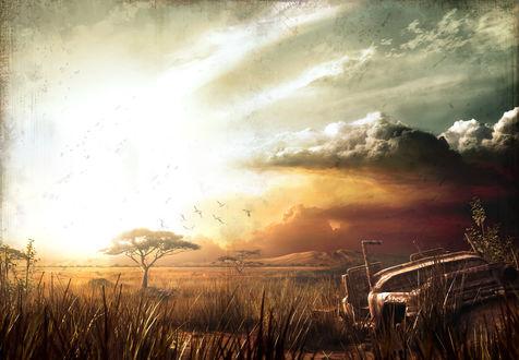 Обои Вид на африканскую саванну на закате, из игры Far Cry 2