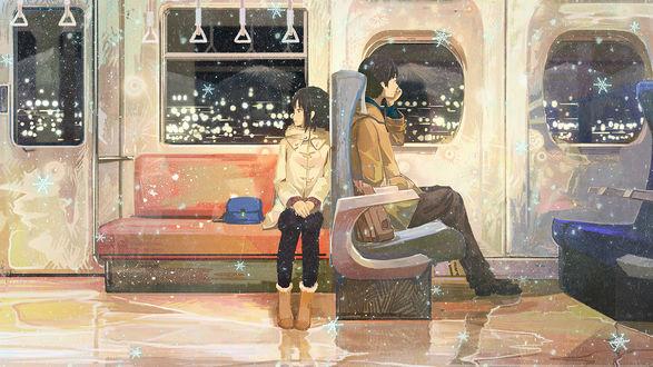Обои Парень и девушка в вагоне поезда