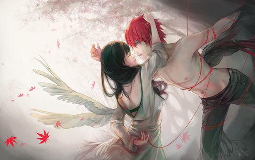 Обои Парень и девушка-ангелы, связанные красной нитью судьбы