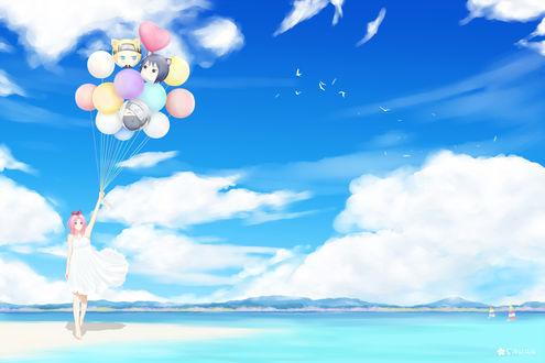 Обои Сакура Харуно / Sakura Haruno с воздушными шариками из аниме Наруто / Naruto