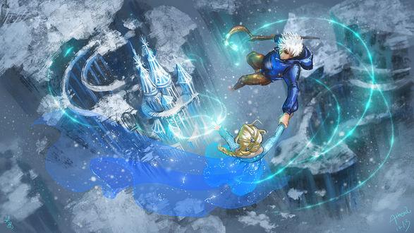 Обои Ледяной джек / Jack frost из мультфильма Хранители снов / Rise of the Guardians и Эльза / Elsa из мультфильма Холодное сердце / Frozen