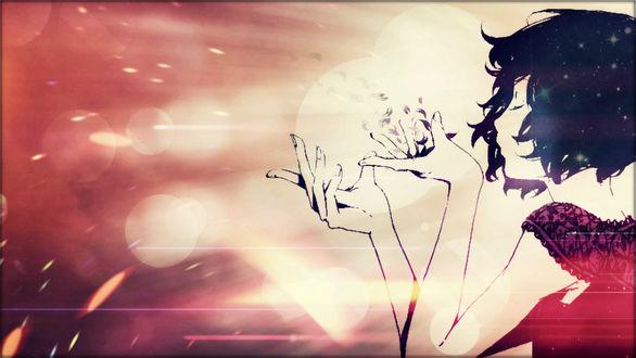 Обои Темноволосая девушка сдувает с ладони лепестки