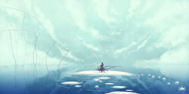 Обои Танцующие парень и девушка на небольшом островке водоема в окружении цветущих лотосов