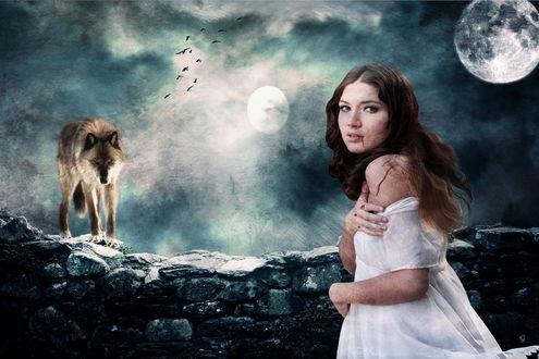 Обои Темноволосая девушка в белом платье с текущей из рта струйкой крови на фоне ночного неба с взошедшей луной, стоящего на каменной стене волка