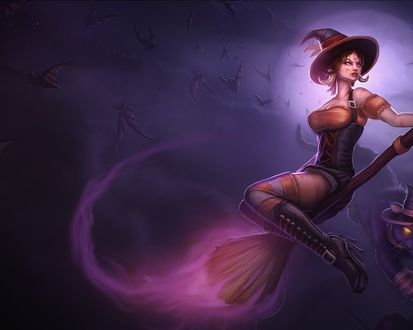 Обои Ведьма на метле