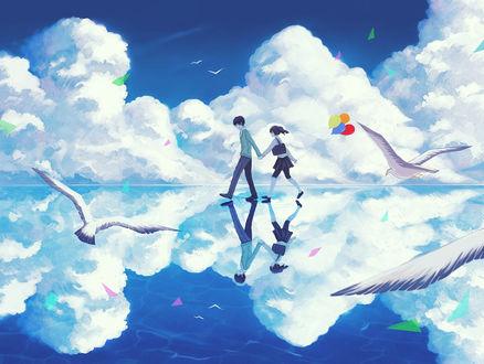 Обои Коконосе Харука / Kokonose Haruka и Энэ / Ene из аниме Призрачный проект / Kagerou Project