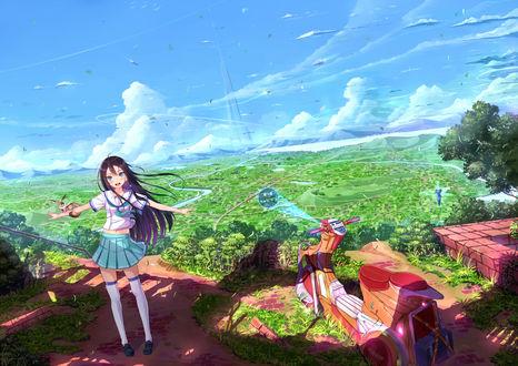 Обои Девушка со зверьком на руках стоит навcтречу ветру рядом с мотоциклом на фоне неба, art by Kazeno
