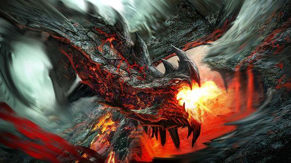 Обои Огнедышащий дракон, автор GeorgeLovesyArt