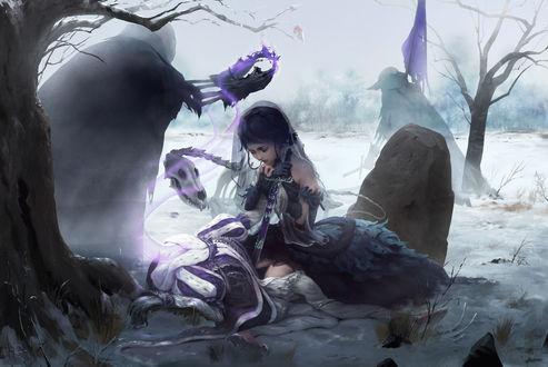 Обои Скелетообразное существо коронует девушку, стоящую на коленях и опирающуюся на меч, art by mad jojo