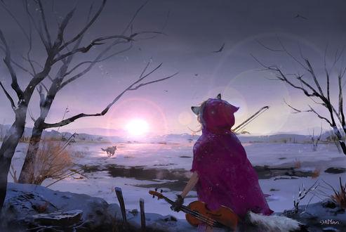 Обои Девушка с волчьими ушками в красном плаще со скрипкой в руке смотрит на убегающего по замерзшему озеру, волка, art by mad jojo