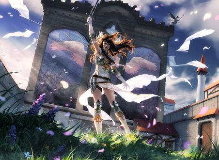 Обои Девушка держит меч