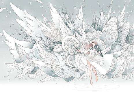 Обои Девушка в белоснежном платье со скрипкой в руках