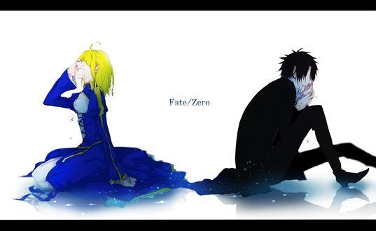 Обои Saber / Сейбер и Emiya Kiritsugu / Эмия Киритсугу плачут из аниме Fate / zero / Судьба:начало