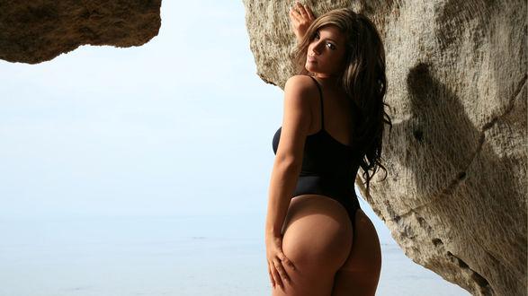 Обои Модель Samantha Buxton / Саманта Бакстон в черном боди