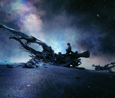 Обои Силуэт девушки, сидящей на корневище высохшего дерева на фоне ночного, звездного неба и Млечного пути, автор Garas Ionut