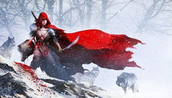 Обои Девушка в красном плаще держит саблю в одной руке и голову волка в другой, позади настороженно смотрит стая волков