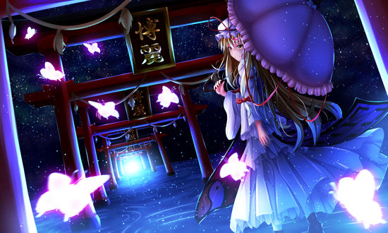 Обои Yakumo Yukari / Якумо Юкари из серии компьютерных игр Touhou Project / Проект Восток