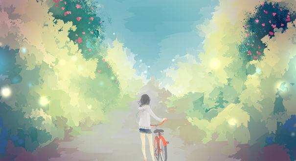 Обои Девушка с велосипедом идет по дороге