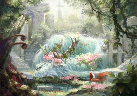 Обои Девочка с корзинкой смотрит на спящее сказочное животное