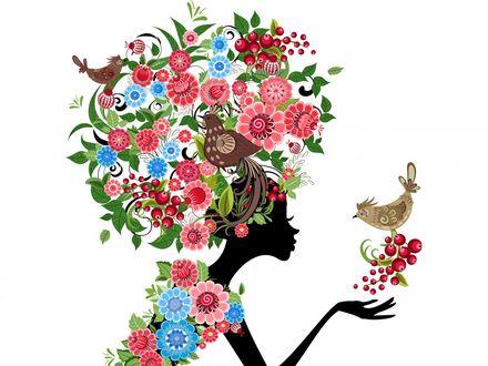 Обои Абстрактный рисунок девушки с цветами и птицами