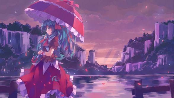 Обои Девушка в красном платье с красным зонтом стоит на берегу реки и смотрит в сторону