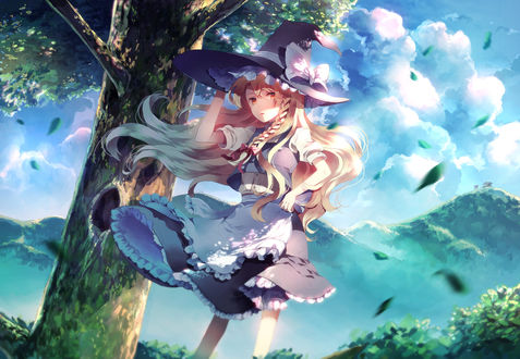 Обои Marisa Kirisame / Мариса Кирисаме стоит под деревом, из серии компьютерных игр Touhou Project / «Проект «Восток», art by sunakumo